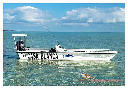Dolpin Skiff at Casa Blanca Lodge, Ascension Bay World Record Permit Fishing