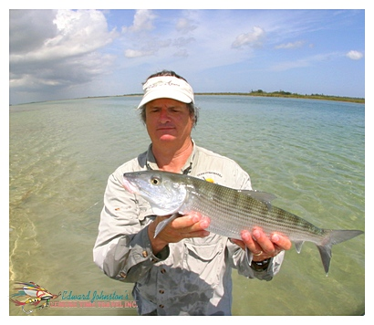 Grand Bahama Bonefishing : Edward Johnston with a nice Grand Bahama Bonefish