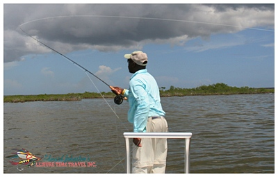 David Pinder casting a long line at Grand Bahama Bone Fishing