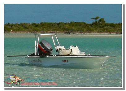 Bonefish skiff at Mars Bay Bonefish Club