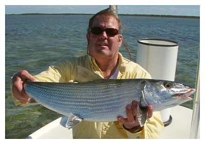 Mosby with a very-nice bonefish at Grand Bahama Bonefishing