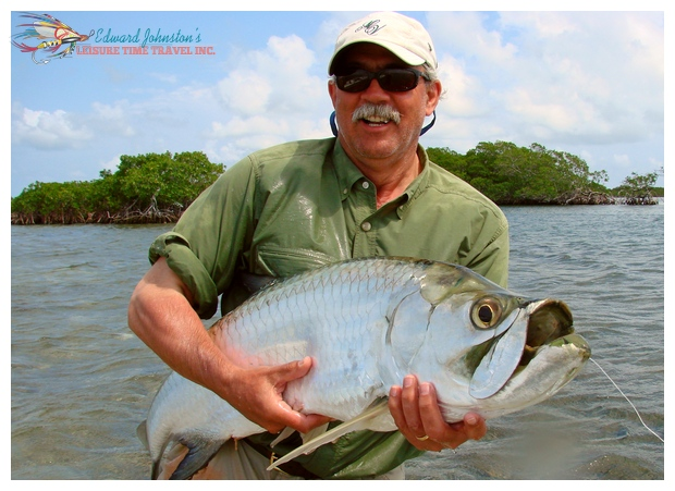 Turneffe Island Lodge : Peter with fine tarpon, Belize Fly Fishing, Belize Lodges
