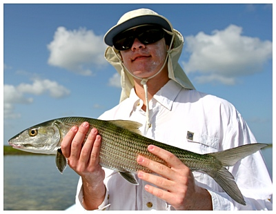 Deep Water Cay Club- Aaron with the days first bonefish , Fly Fishing Deep Water Cay